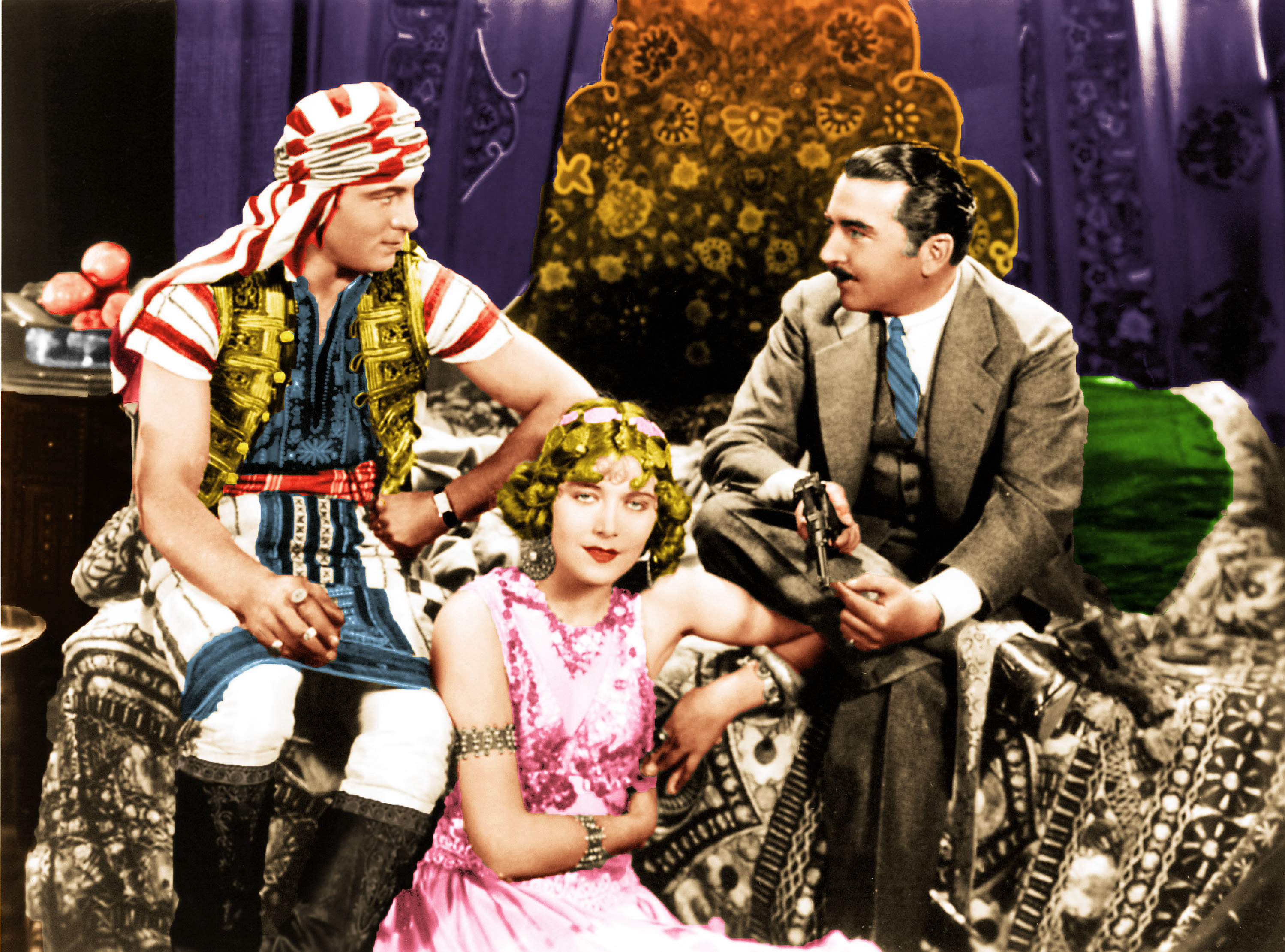 on the set with rudolph valentino old hollywood in color